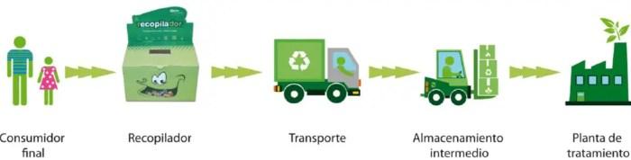 El ciclo del proceso de reciclaje comienza cuando el consumidor deposita el envase en el contenedor adecuado