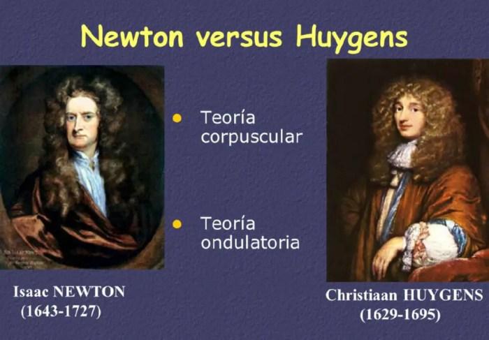 Newton y Huygens tuvieron teorias diferentes sobre la composicion de la luz