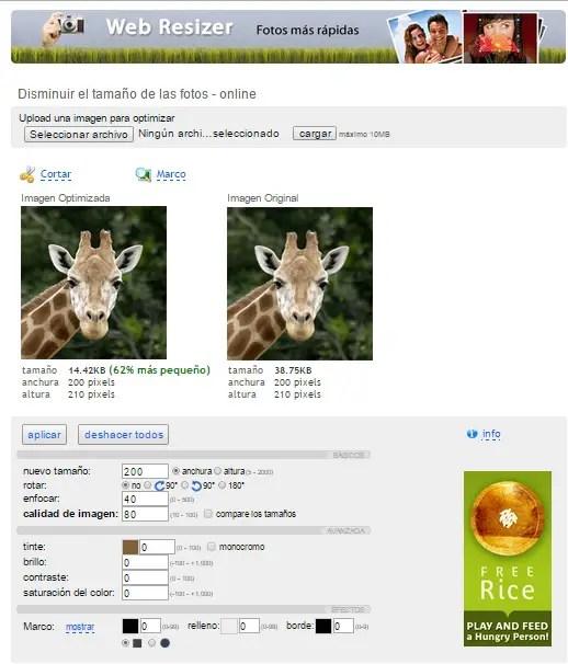 Reducir tamaño fotos