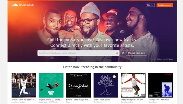 Paginas para escuchar musica Soundcloud
