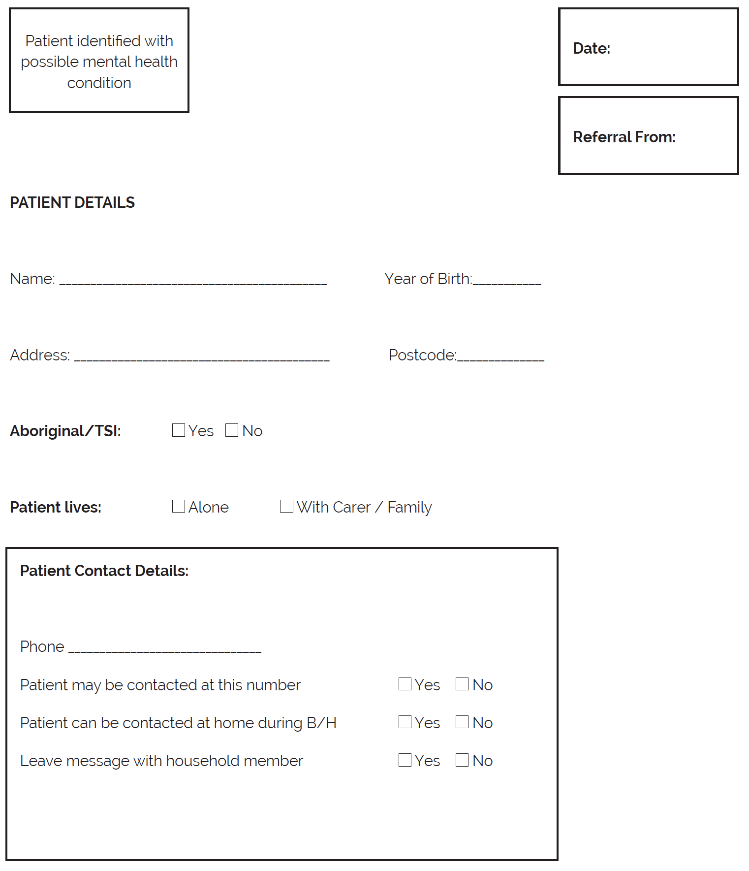 This Section Provides A Form For A Referral Pro Forma