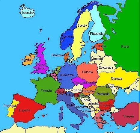 Todos los paises de Europa  Mapa Capitales Continente Islas