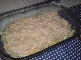 Macarrão colorido com frango e molho branco