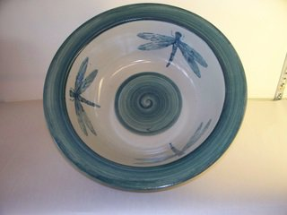 Pottery bowl with dragonflies by Betty Franklin