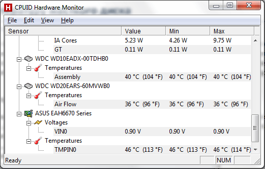 The program shows the temperature of the hard drive  Operating