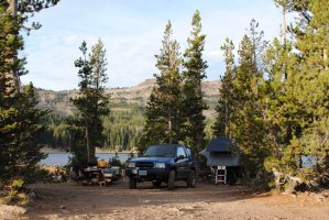 Compact Camping Trailer camping at Three Creeks by Sisters, Oregon with a Jeep Style Trailer
