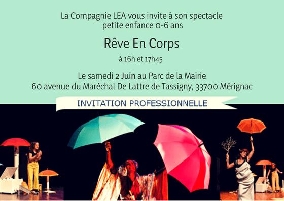 invitation Cie LEA - Rêve En Corps Mérignac