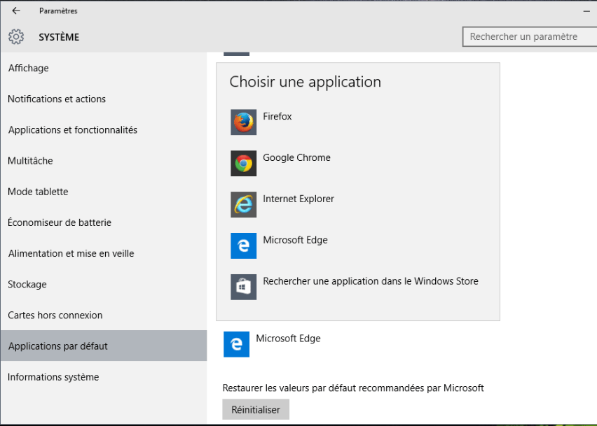ouvrir internet explorer windows 10