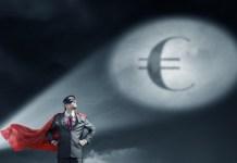 znak euro na niebie, grafika