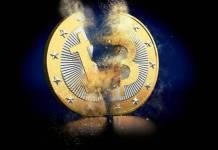 pękająca moneta bitcoin