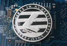 Kryptowaluta Litecoin LTC na płytce scalonej