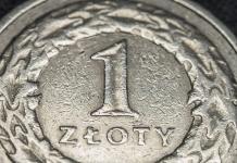 Zbliżenie na monetę 1 złoty PLN