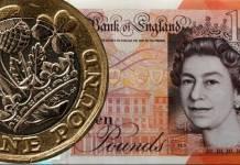 Banknot oraz moneta brytyjska
