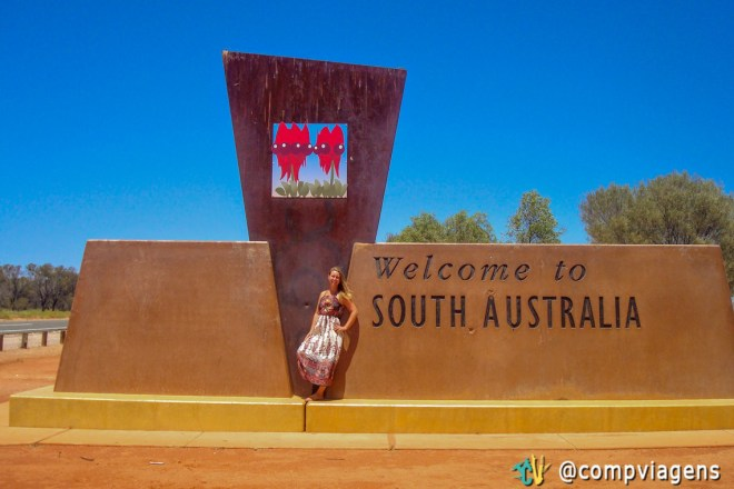 Placa da divisa do Sul da Austrália