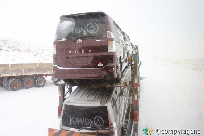 A neve deixou vários caminhões parados na estrada. Quase batemos nessa cegonha.