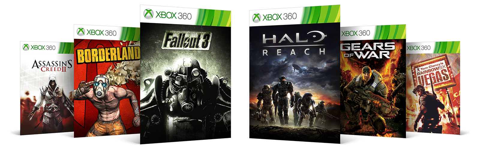 Xbox 360 Games   Xbox Xbox 360 games   Assassins Creed 2 Borderlands Fallout 3 Halo Reach Gears  of War Rainbow