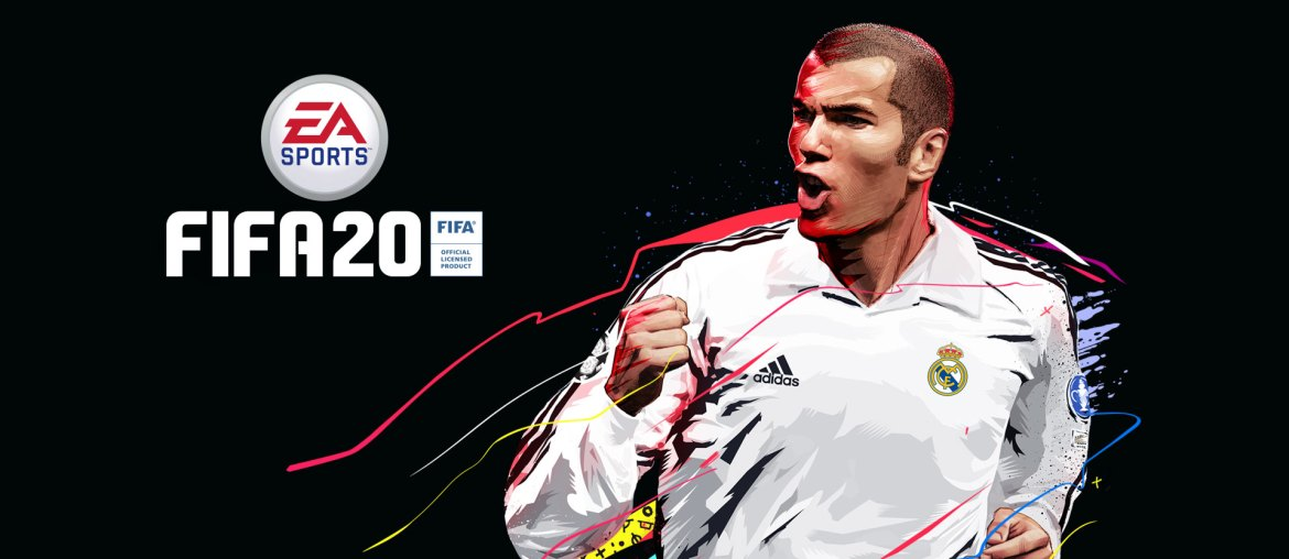 EA Sports logo, FIFA 20, FIFA Official Licensed Product, front view of Zinedine Zidane with colorful paint splatter behind him