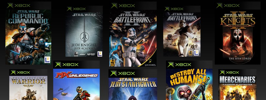 Xbox One Backward Compatible Game Library   Xbox Original Xbox boxshots of Star Wars Republic Commando Jedi Knights Jedi  Academy Battlefront 2 Battlefront 1