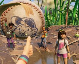 Personajes de Grounded junto a una pelota de béisbol