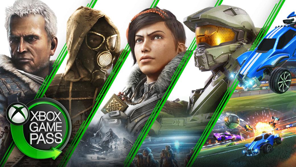 Un collage de juegos disponibles en Xbox, como Monster Hunter World, Metro Exodus, Gears 5, Halo MCC y Rocket League.