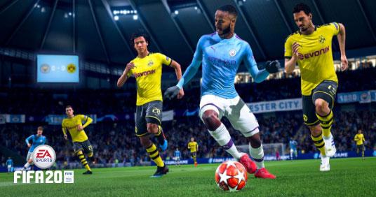 FIFA 20, Raheem Sterling dribleando contra Dortmund