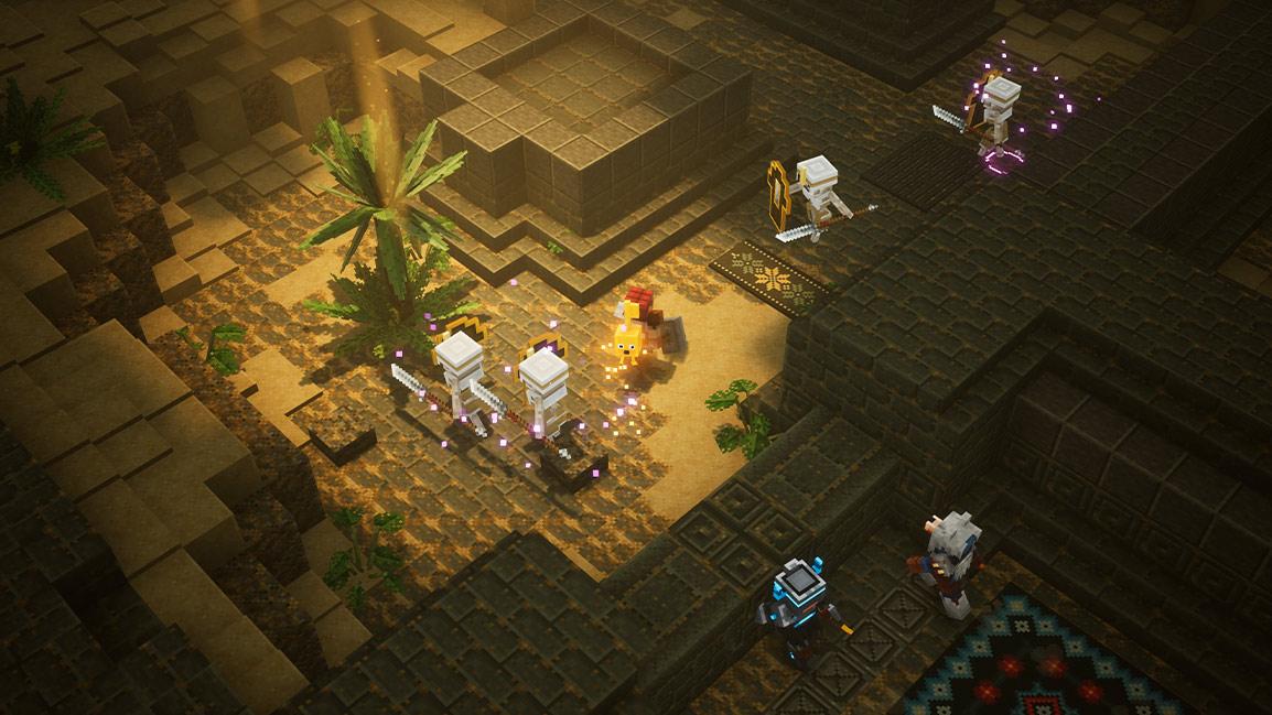 Un personnage de Minecraft tient une clé dans une zone désertique remplie de squelettes