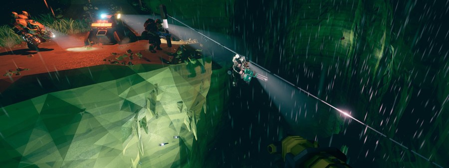 Deep Rock Galactic for Xbox One and Windows 10   Xbox 2 space dwarves zipline inside a cave