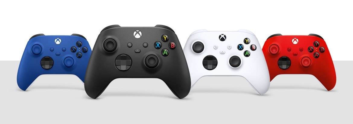 Xbox Wireless Controller Carbon Black, Robot White, Shock Blue, and Pulse Red
