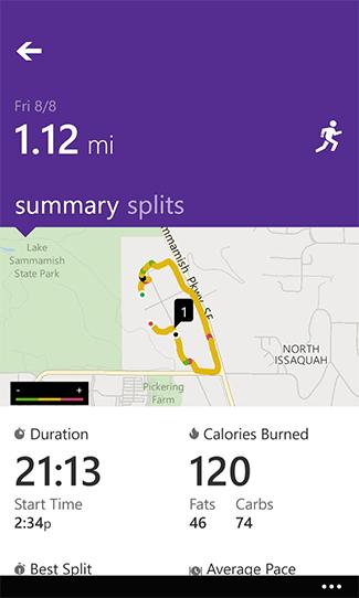 Microsoft Health app GPS run map