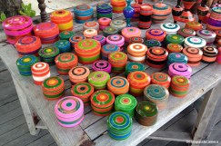 Carved, colored and polished wooden boxes