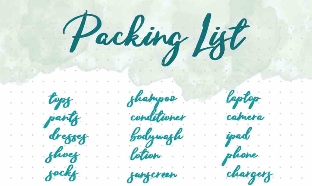 Packing List Bullet Journal Collection Header