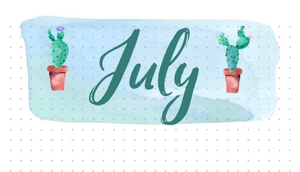 July Bullet Journal Layout Cactus Theme