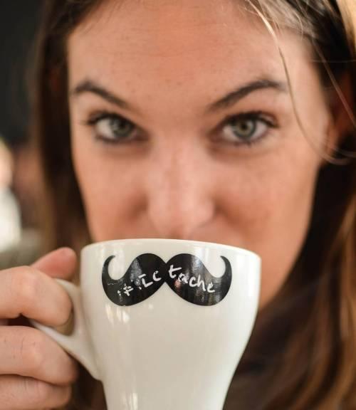 Antie enjoying a Movember coffee