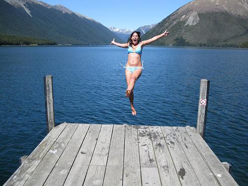 Antie jumping into Lake Rotoiti