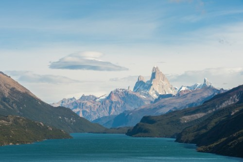 View of Fitz Roy on the trek across Lago del Desierto