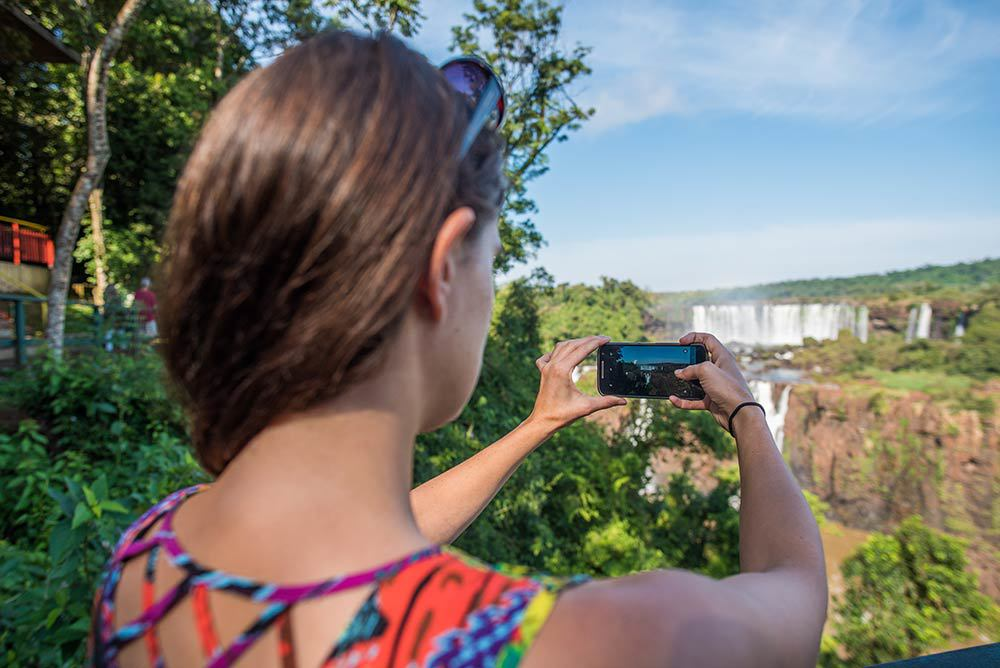 Antie taking a photo at Iguazu
