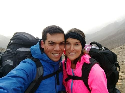 Pete & Antie in a snow storm on top of the Jon Gardner Pass