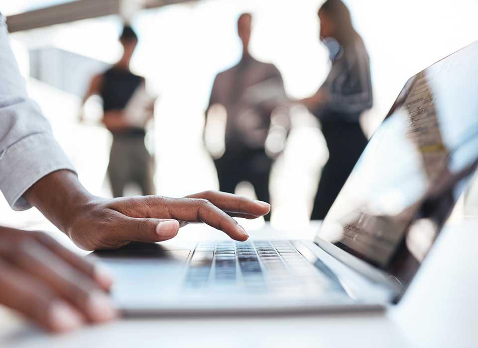executive on a computer