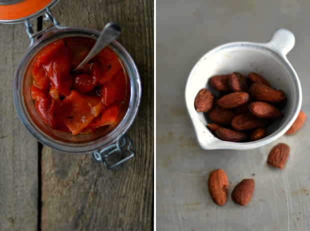 roasted almonds and bell pepper