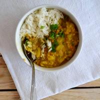 Caril de lentilhas e batata-doce