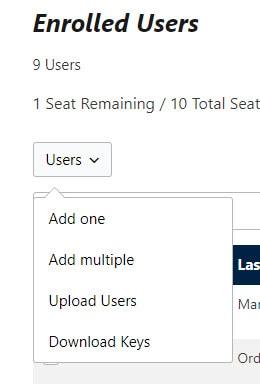 users menu options