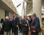 Knox County Mayor Glenn Jacobs with other county officials and lawyers outside Chancery Court.