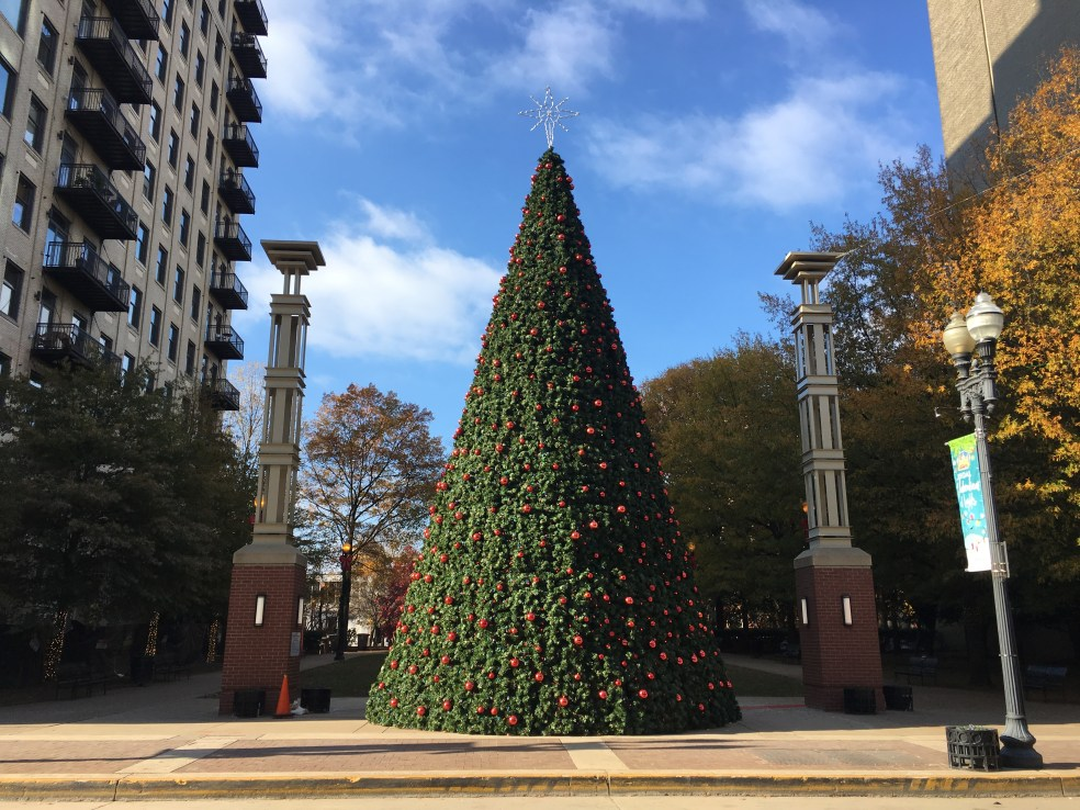 The Christmas tree in Krutch Park Extension.