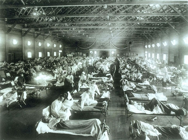 Soldiers with flu, 1918
