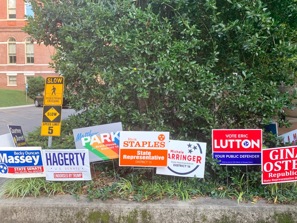 Election signs courthouse