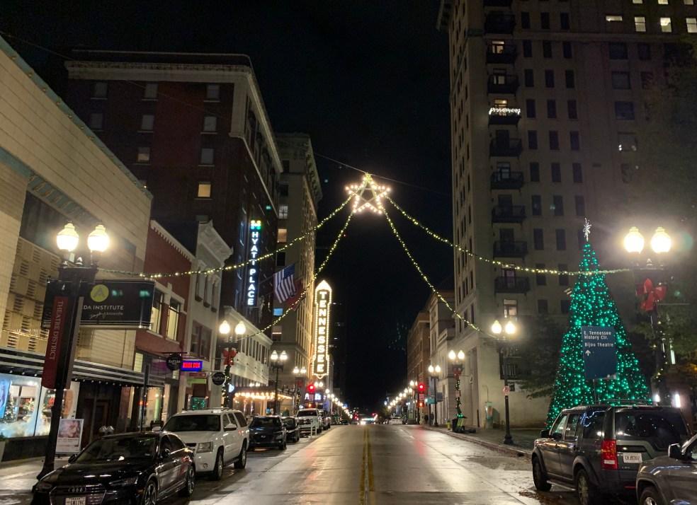 Holiday lights on Gay Street