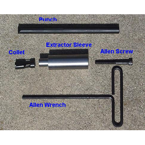 Images of live round extractor kit products punch, collet, exgtracgtor sleeve, allen screw, allen wrench