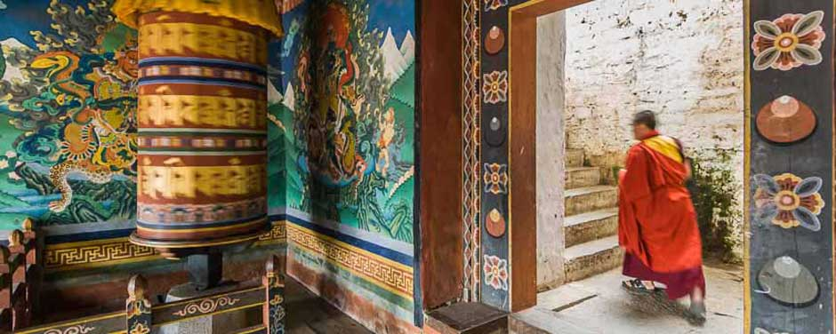 Entrance to a Bhutanese monastery in Paro photographed by Jock Montgomery during a world expedition.