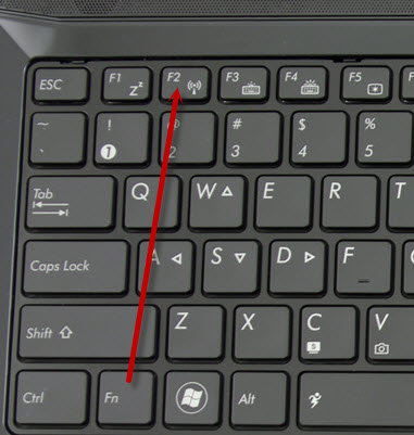 Включение W-Fi комбинацией клавиш