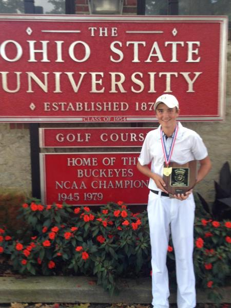 JEG COUGHLIN III CAPTURES OHIO STATE GOLF CHAMPIONSHIP   Competition     The state championship was a two day tournament held on the Scarlet course  at Ohio State University Golf Club  where Jeggie shot even par to win by  three